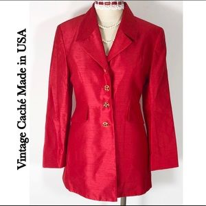 Vintage Caché Red Polyester Lined Blazer